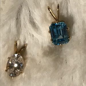 Jewelry - Cubic zirconia and turquoise pendants set in 14KT.